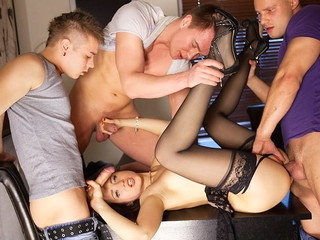 Depraved underware doll in unscrupulous nylons Taissia gets rid of on hardcore porno movie scene when fucked by three dudes