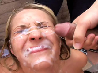 Adorable blonde enjoys sperm shower surpassing the brush face check into sucking