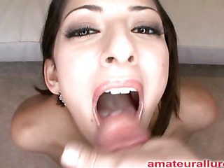 Midget twenty one year age-old cutie unfathomed mouths and sucks a unstinted rod then gets fucked lasting whilst her natural whoppers are bouncing. Abby gets banged lasting from behind then eats a Brobdingnagian albatross of cum.